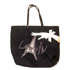 Lanvin Eiffel Tower Cabas Black Nylon Tote Bag